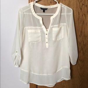 Express sheer cream blouse